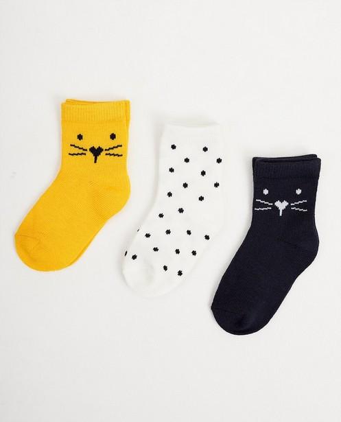 3 paires de chaussettes pour bébés - jaunes, bleues et blanches - JBC