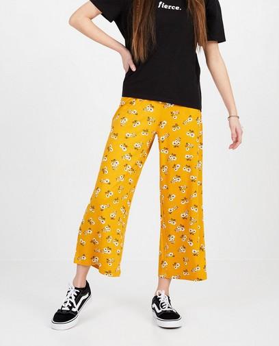 Pantalon ocre, imprimé fleuri
