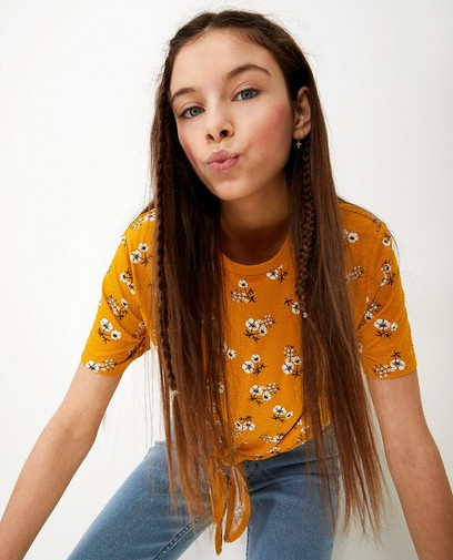 T-shirt jaune, imprimé fleuri