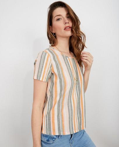 Gestreept T-shirt van linnen I AM