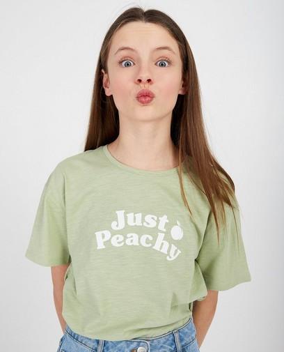 Lichtoranje T-shirt met opschrift