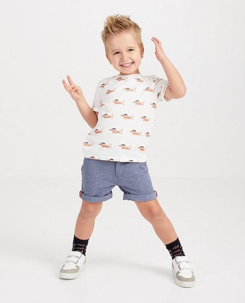 Wit T-shirt met print Hampton Bays - allover hondjesprint - Hampton Bays