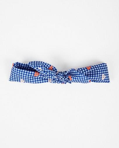 Blauw geruite haarband