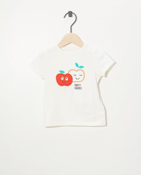 T-shirt blanc en coton bio - petites pommes - Cuddles and Smiles