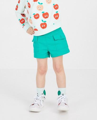 Groene short van linnen