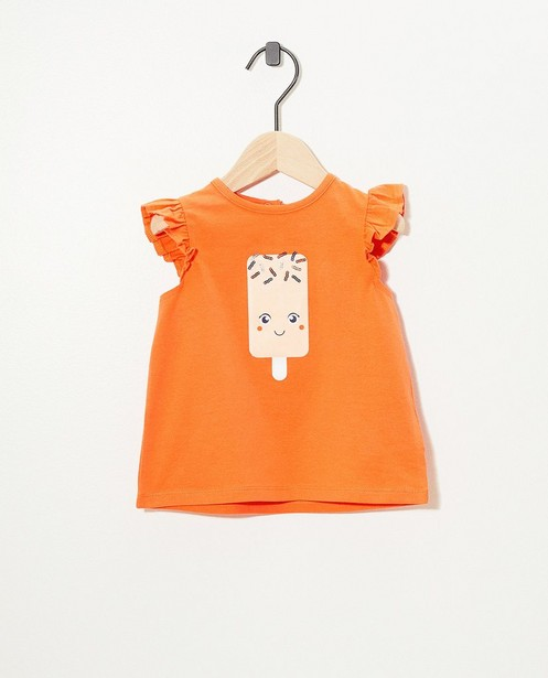 Top orange en coton bio - avec des ruches - Cuddles and Smiles
