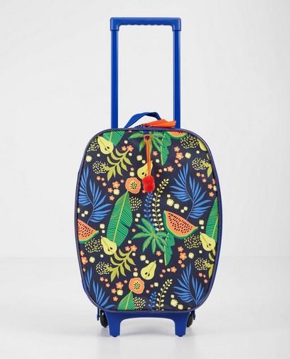 Blauwe koffer met tropische print