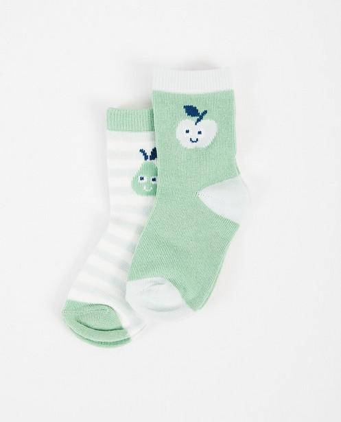 2 paires de chaussettes - vertes, rayées et unies - JBC
