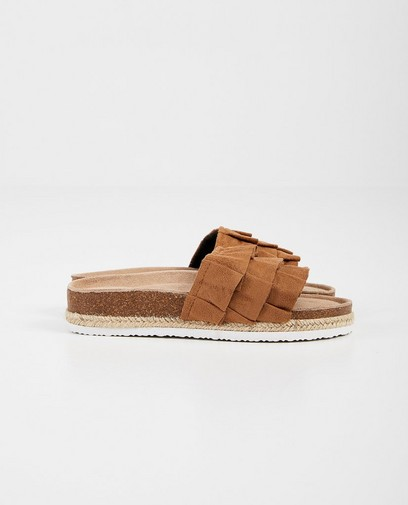 Bruine platform slippers