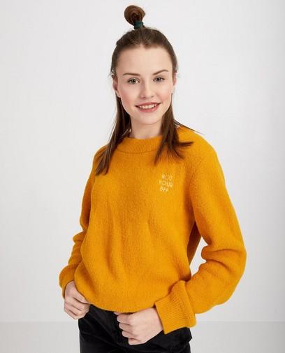 Gele trui met opschrift