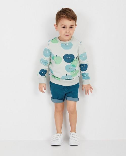 Lichtgroene sweater met print - null - Kidz Nation