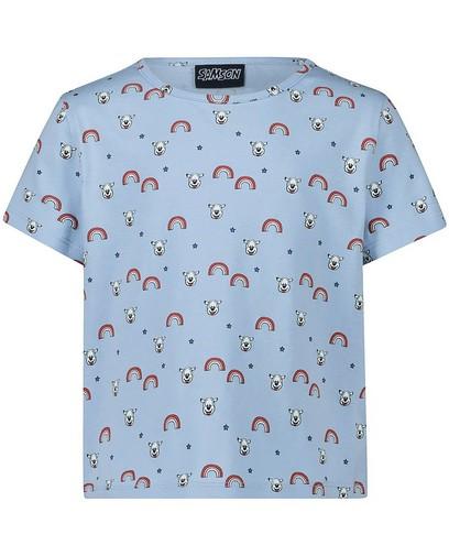 T-shirt bleu, imprimé Samson