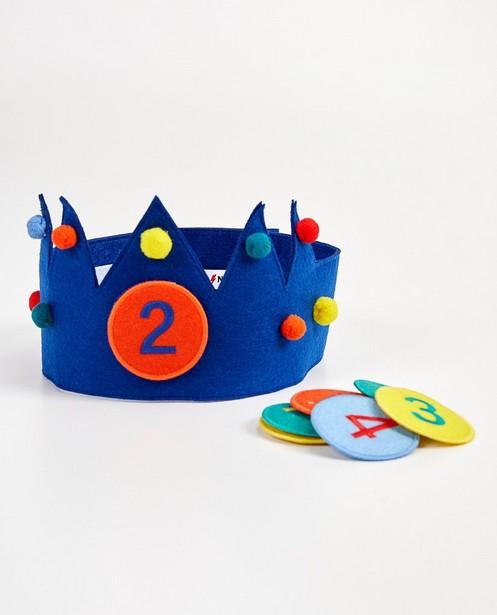 Couronne d'anniversaire, 2-8 ans - bleue en feutrine - kidz