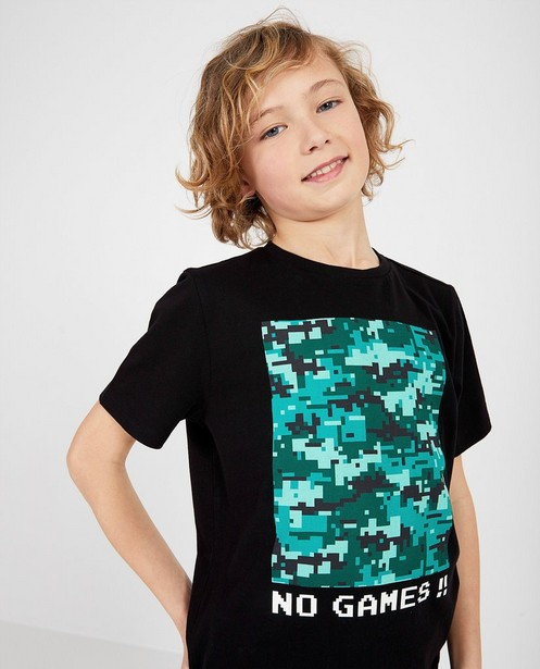 T-shirts - Zwart shirt met print Gers Pardoel