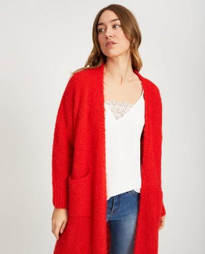 Cardigan rouge à poches
