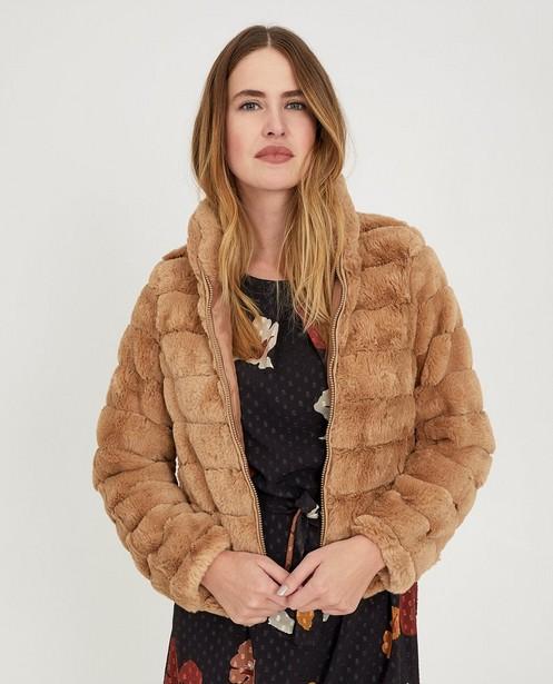 Poncho's en teddy's - BRL - Beige faux fur jas Ella Italia