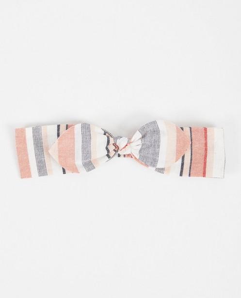 Bandeau rose avec nœud papillon - rayures - JBC