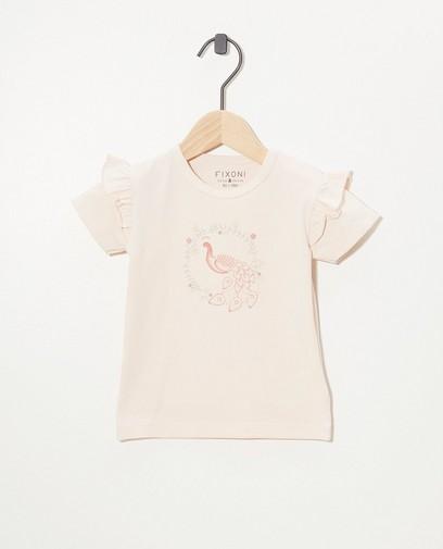 T-shirt rose, imprimé Fixoni