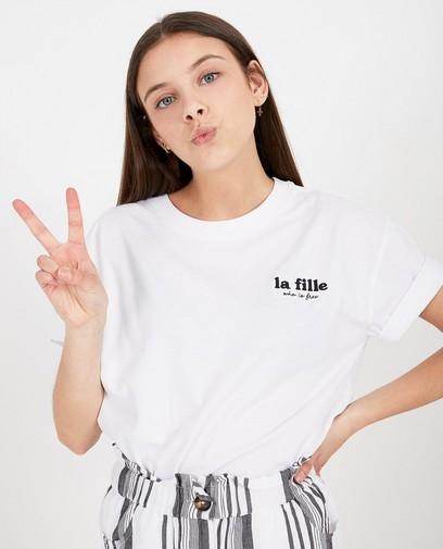 Wit T-shirt met opschrift