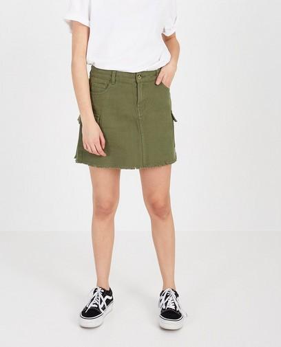Groene rok met rafels