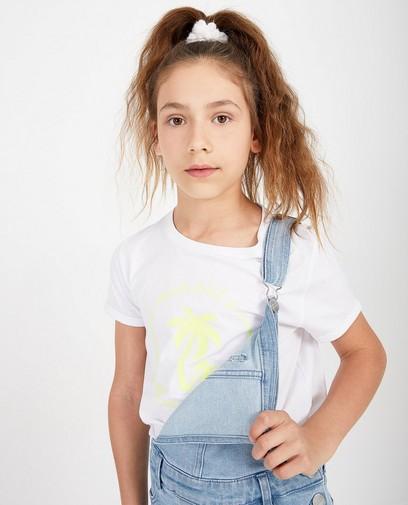 Wit T-shirt met fluogele print