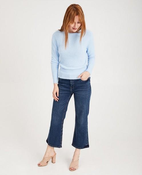 Blauwe trui van fijne brei Sora - 'harig' - JBC