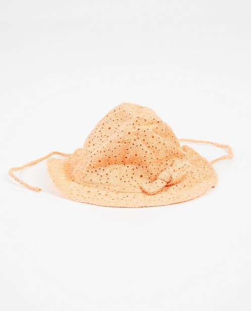 Oranje hoed met broderie anglaise - zonnehoedje - Newborn