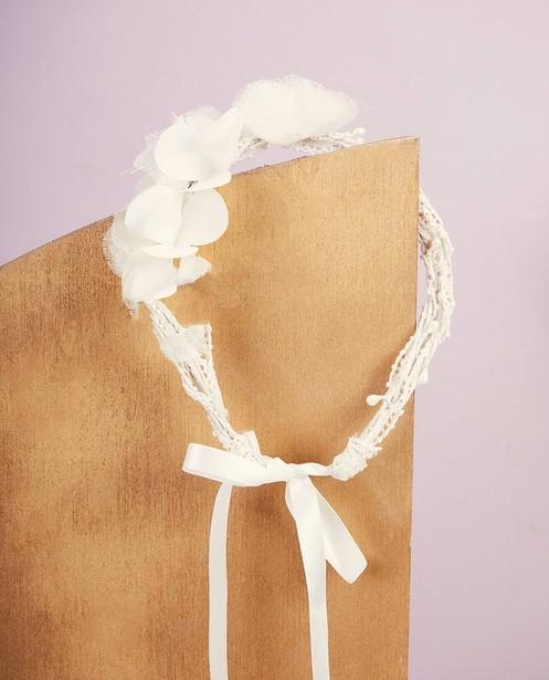 Witte haarband met lint Communie - met bloemen - Milla Star