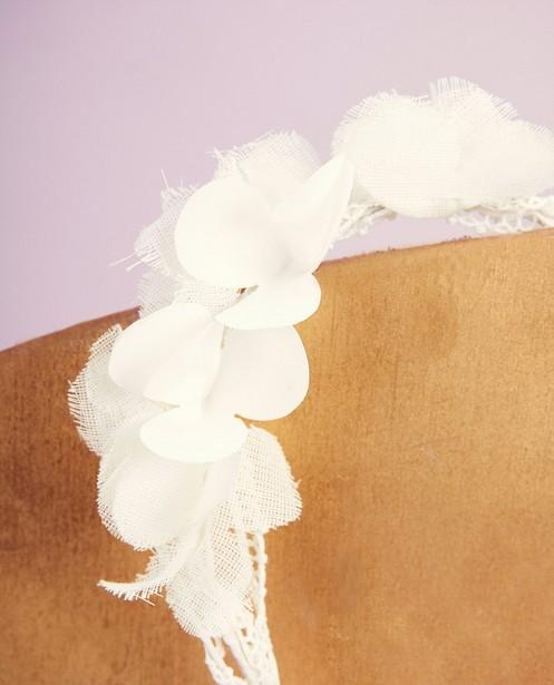 Breigoed - Witte haarband met lint Communie