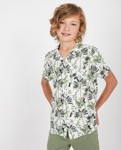 Wit hemd met print, 7-14 jaar