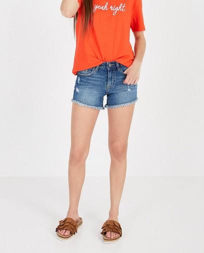 Short en jeans destroyed bleu foncé