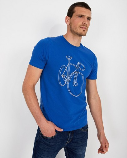 Blauw T-shirt met print Baptiste