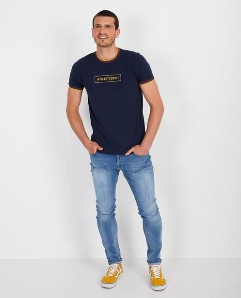T-shirt bleu «wielertoerist» Baptiste - jaune - Baptiste