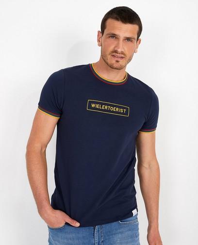 Blauw 'wielertoerist'-shirt Baptiste