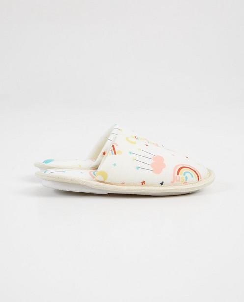 Witte pantoffels met print - en opschrift - JBC
