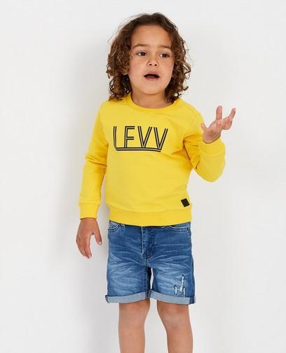 Gele sweater met opschrift Levv