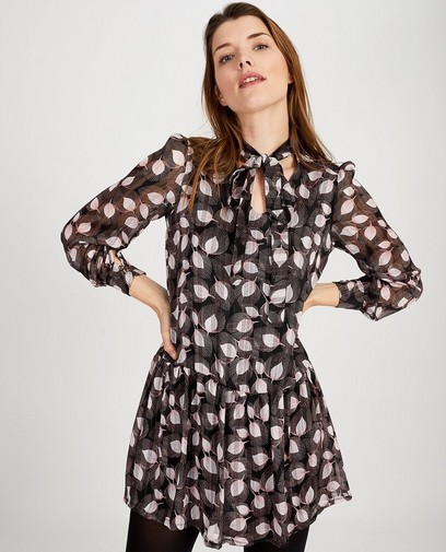 Zwarte jurk met print Ella Italia