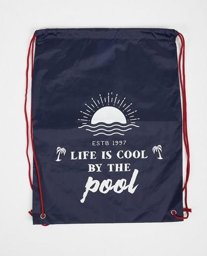 Blauer Schwimmbeutel mit Print