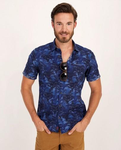 Blauw hemd met print s.Oliver