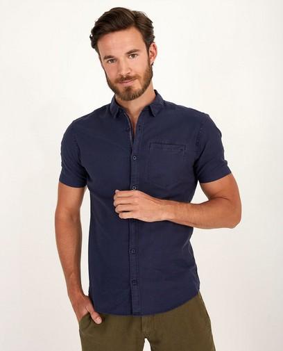 Donkerblauw hemd met korte mouwen