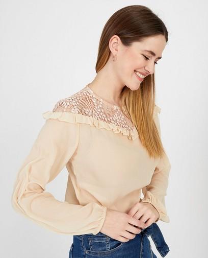 Beige blouse met kant Ella Italia