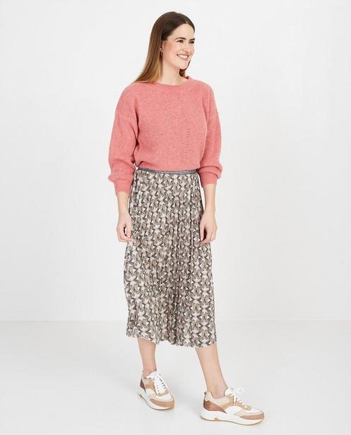 Roze trui met ajourpatroon - null - Ella Italia