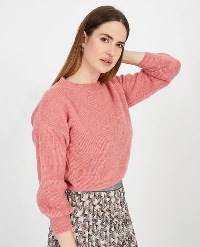 Roze trui met ajourpatroon