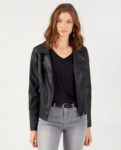 Zwarte jas in faux-leather Sora