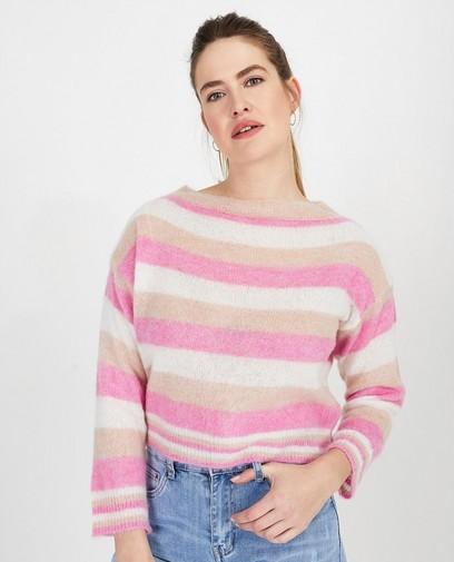 Wit-roze trui met strepen
