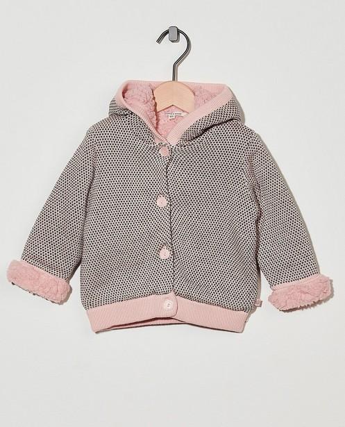Roze vest met capuchon - met teddy-voering - Cuddles and Smiles