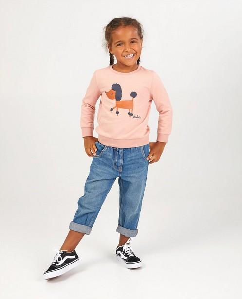 Roze sweater met print BESTies - stretch - Besties