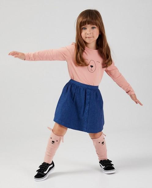 T-shirt rose à manches longues en coton bio  - avec un imprimé - Milla Star