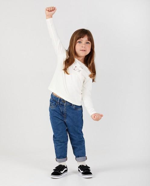 T-shirt blanc à manches longues en coton bio  - avec un imprimé - Milla Star