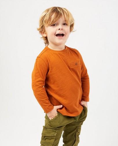 T-shirt brun à manches longues en coton bio